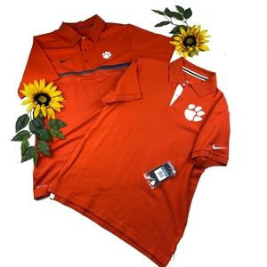 Lot TWO Nike Clemson Tigers polo shirts